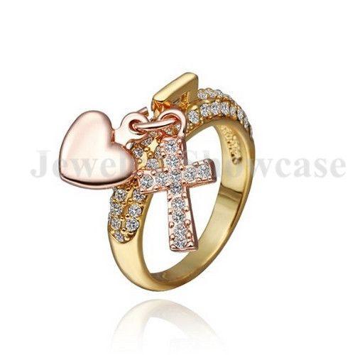 Rose Gold Clear CZ Coração e Cruz Pingentes Banda Anel EUA Tamanho 8