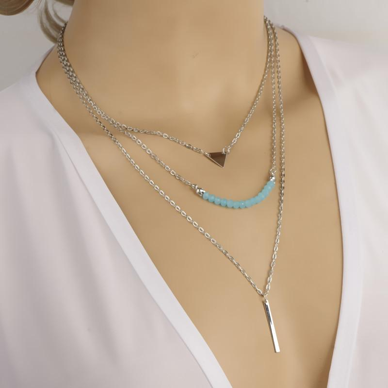 2a444fb60 Bohemian Necklace Gold/ Silver Plated Blue Beaded Models Triangle Sequins Chain  Necklace Gothic Layered Necklace for Women NL190416