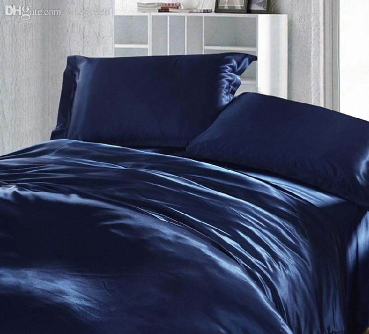 Whole Dark Blue Bedding Set Silk, Super King Bedding Set Blue