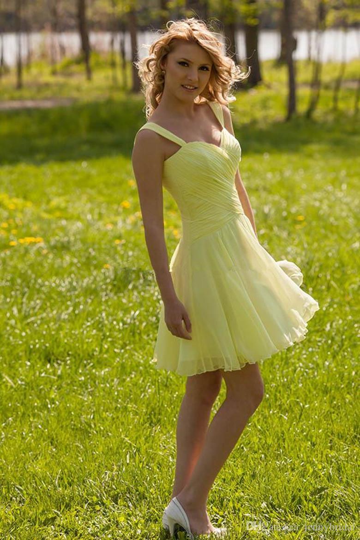Black dress yellow sash -  Custom Short Yellow Bridesmaid Dress 2015 Cheap Bridesmaid Dress Chiffon Casual Dress Spaghetti Black Sash Cocktail