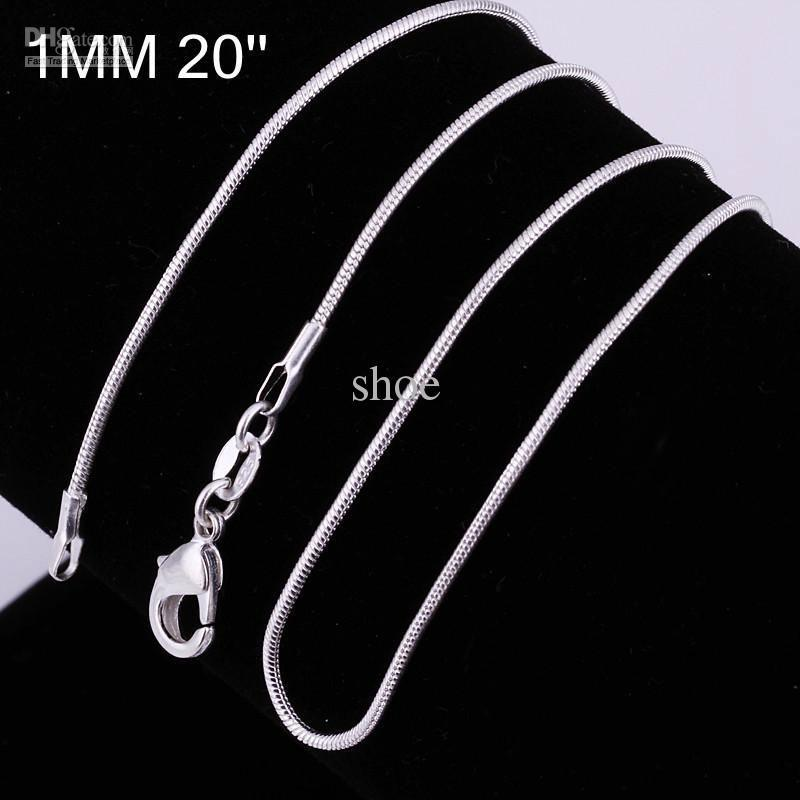 925 silver snake chain Necklace 1MM mixed size 16 18 20 22 24 inch hot sale
