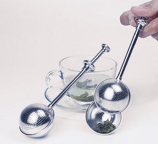 Бесплатная доставка--200 шт. / лот-- длинная ручка 304 из нержавеющей стали гибкий чай Infuser чайник ложка ситечко круче ручка душ