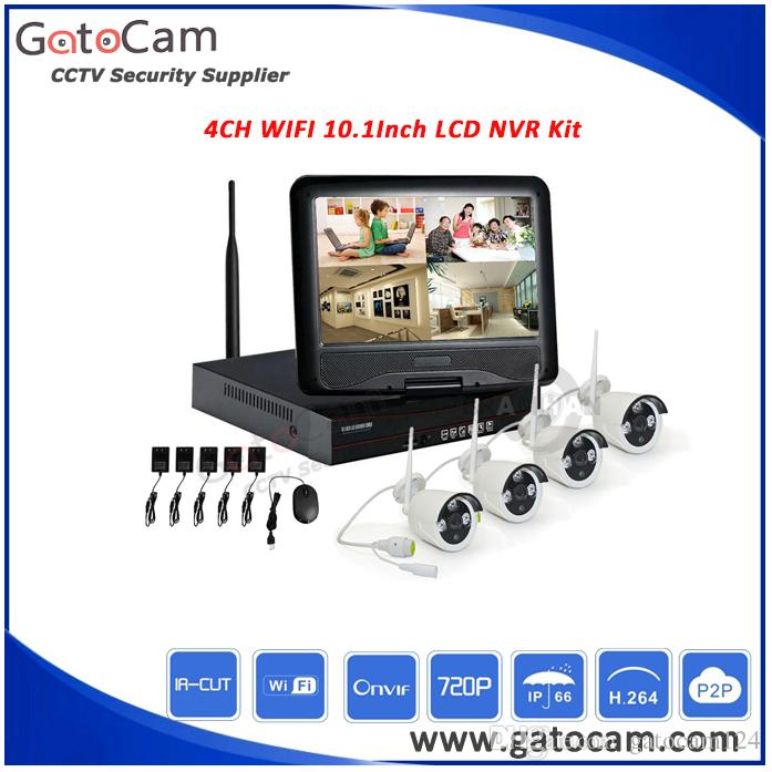 4CH HD LCD Wirelss NVR Kits Wifi CCTV Kit Waterproof 1.0MP WiFi IP bullet cameras kits plug and play support P2P function