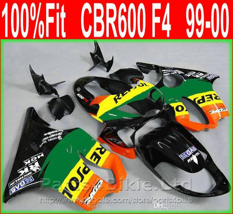 7Gifts Carenados de motocicleta verde para Honda 99 00 CBR600 F4 kit de carrocería GAS Repsol CBR 600 F4 1999 2000 carenados de kit GOSH