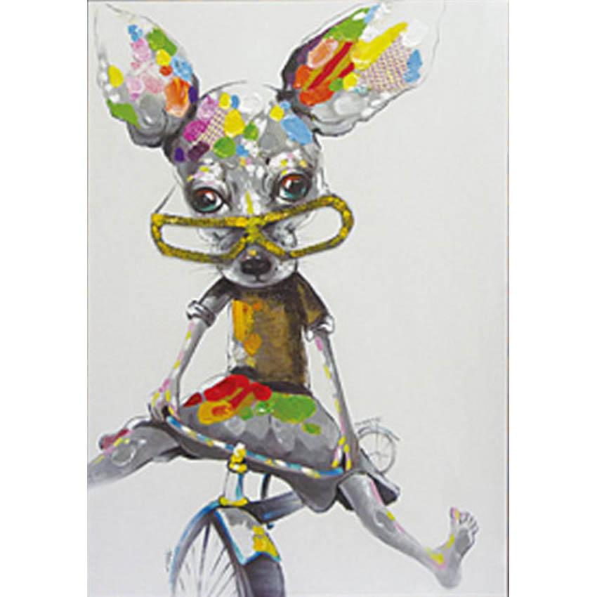 100% Hand-painted Cartoon Animal Bicycle Mouse Oil Painting on Canvas Mural Art Picture for Office Home Wall Decor