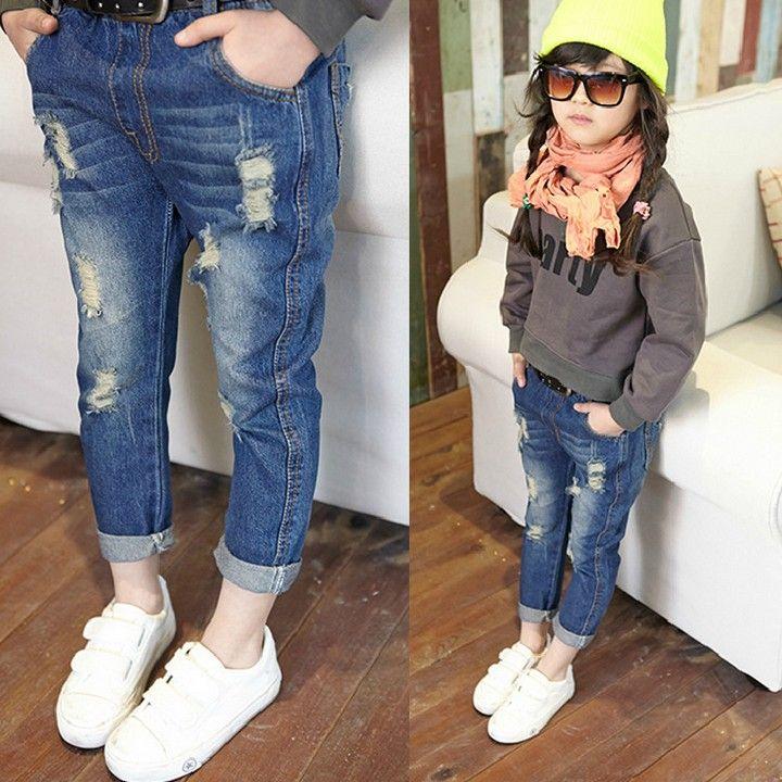 2015 احدث اسلوب الأطفال الأزياء الكورية عارضة غسلها بنات بيع بنطلون جينز الساخن الصلبة جينز ملابس أطفال