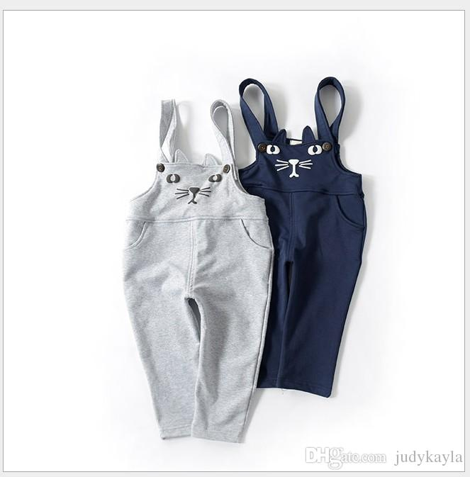 2019 New Arrival Boys Girls Cartoon Cat Suspender Pants Kids Casual Trousers Children Clothing Baby Boy Girl Pants 5pcs/lot
