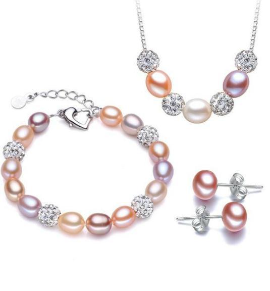8-9мм пресной воды Жемчужное ожерелье серьги браслет смешанные цвета Три Кусок 925 серебряные аксессуары