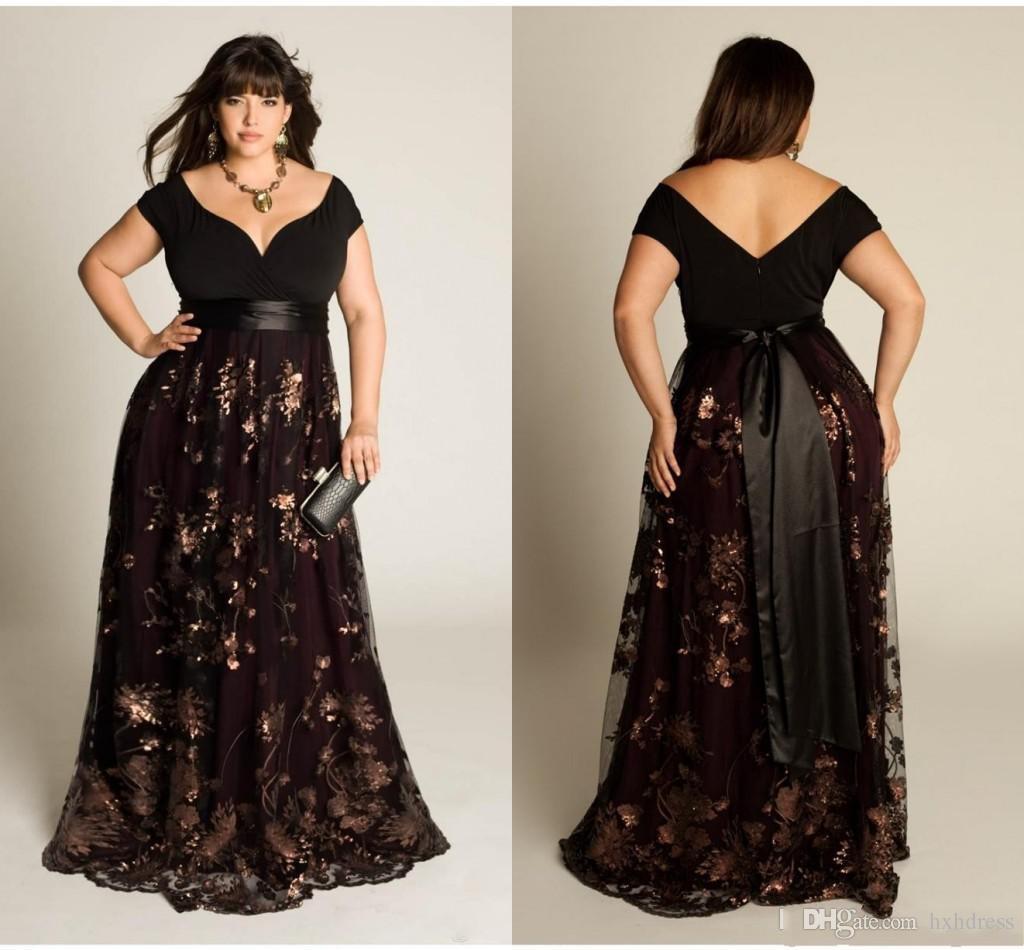 2019 neue Plus Größe Luxus Couture Abendkleid Capped Kurzarm Bodenlangen Sexy Open Back Pailletten Applique Sash Party Kleider Für Frauen