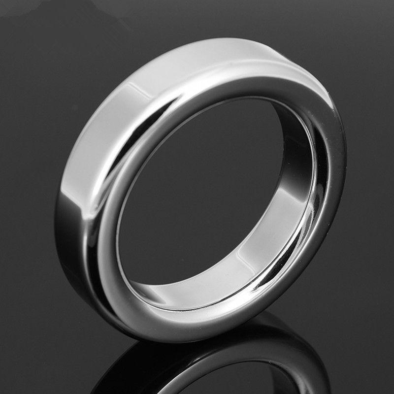Erkek Metal Cock Ring 9mm Kalınlaşmak Paslanmaz çelik Penis Gecikme halka Iç çapı 38 41 44 47mm Opsiyonel