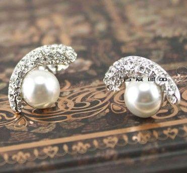 Crystal Pearl Lady, серьги (1,1 * 1,7 см) (ming320)