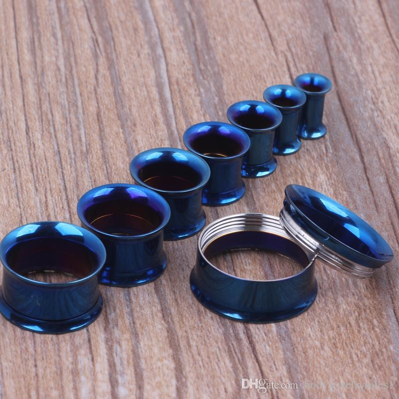 mélanger 5 à 20 mm 144pcs / lot acier inoxydable plaqué titane couleur bleue interne gabarit des tunnels de bouchon d'oreille