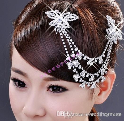 أعلى جودة شحن مجاني الديكور زفاف العرسان التيجان مجوهرات كريستال الشعر الحلي بالجملة اكسسوارات للشعر DL1311267
