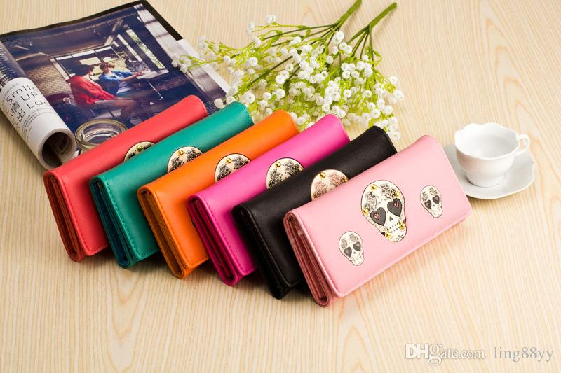 Wholesale New Long Wallets Leather Wallet Student Lady's Long Purse Skull-head Purse Card Holder Wallet Purse Wallets And Coin Purses