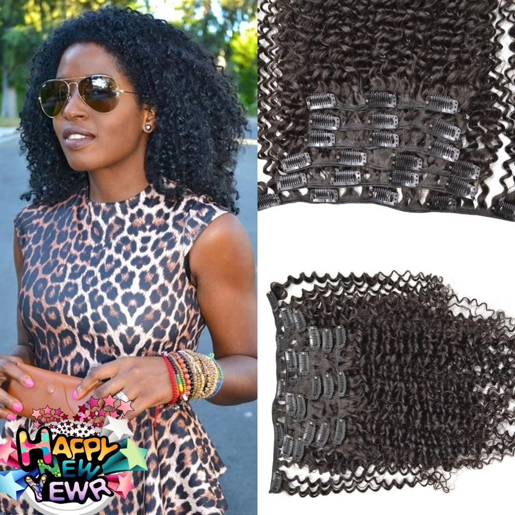 Clip in Human Hair Extensions Afro Kinky Curly Brazilian Virgin Human Hair Extensions Clips Ins 7pcs/set for Whole Head G-EASY Free Shipping