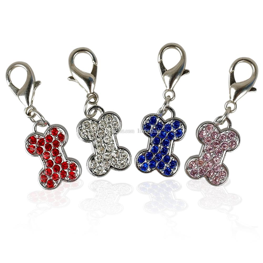 (40pcs 4 Colors) Rhinestone BONE Shape Dog Tags Pet Pendant Collar Charms with hooks for Pet Decoration