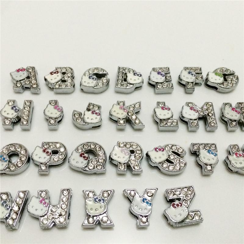 52pcs A-Z Full Rhinestones 8mm Slide Alphabet Letters for 8mm Slide Wristbands//Bracelets,Jewelry Making Charms