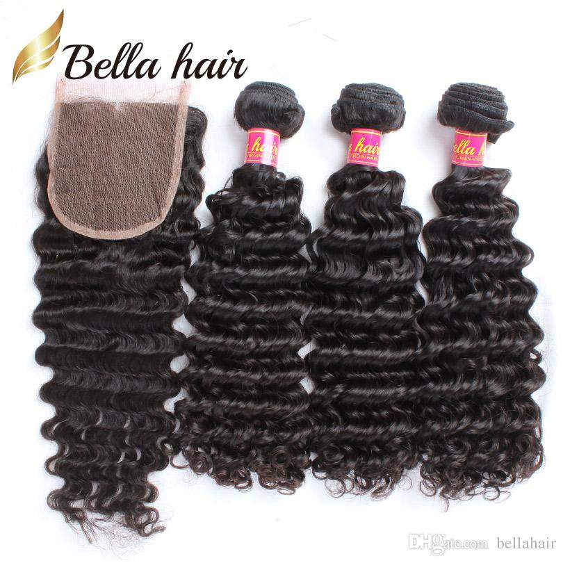 Bella Hair 100% Unprocessed Virgin Peruvian Hair Bundles With Lace Closure 3pcs Deep Wave Wavy 4x4 Lace Closure Free Part with Baby Hair