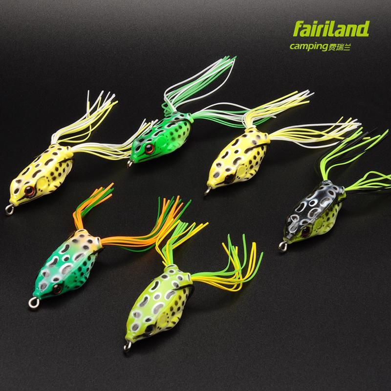 6pcs Fairiland 연약한 개구리 미끼 3 개 크기 Avail. 어려운 낚시 환경 뱀 머리 만다린 물고기 농 어에 대 한 Topwater 고무 개구리