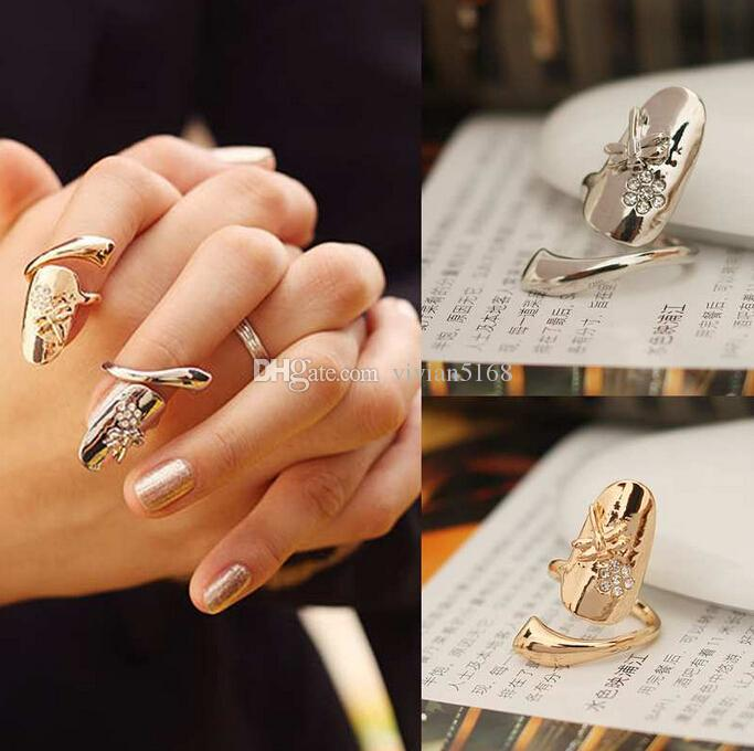 Fashion Personalized Dragonfly Sparkling Rhinestone Flower Nail Finger Ring Nail Ring Gold Silver Finger Nail Rings 2 Colors Drop Shipping