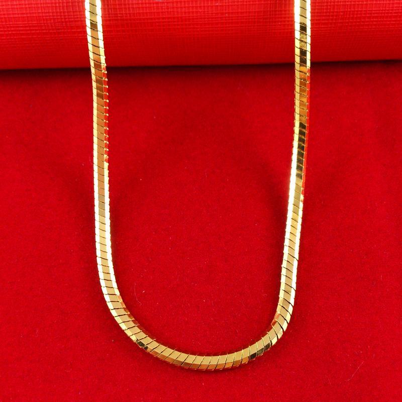 """24 K желтое золото заполненные мужские ожерелье 20 """" твердые снаряженная цепи GF ювелирные изделия 50 см, 12 см, 84 г бесплатная доставка"""