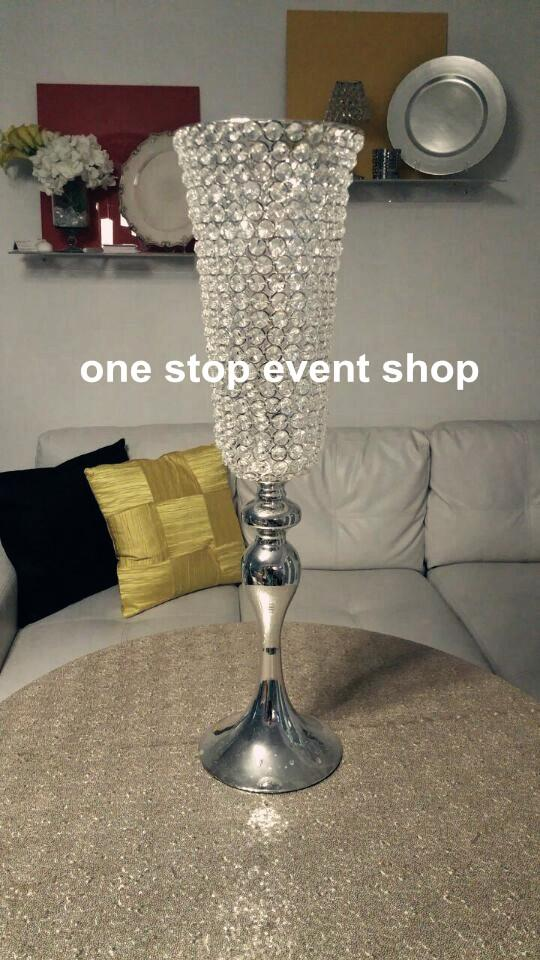 sliver crystal tall wedding centerpiece tall flower vase for wedding table centerpiece