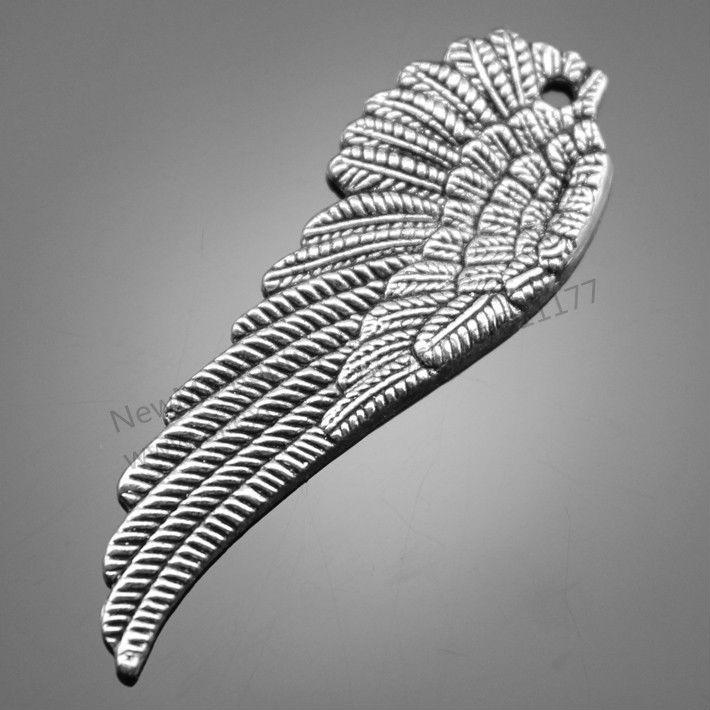 50pcs/lot 51*17mm antique silver plated wing charms DIY for handmade