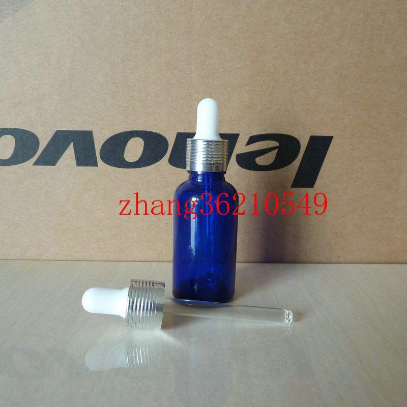 30ml 푸른 유리 에센셜 오일 병 반짝 이는 실버 스포이드 캡 알루미늄. 오일 바이알, 에센셜 오일 용기