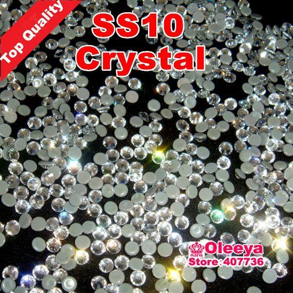 Shippping gratuito! Migliore qualità Hot Fix strass, migliore lucido, pietre Hotfix Crystal White Clear ss10 10gross / bag con colla Y2867