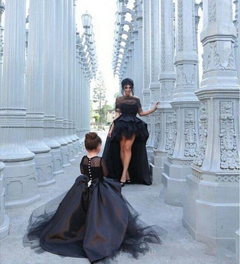 6e4d1fda ... 2016 negro alto bajo Girls desfile de vestidos Sheer mangas largas  vestido de bola arco madre