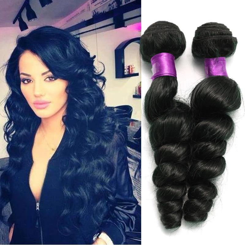 Loose wave 6a brazilian hair virgin human hair wefts natural black brazilian loose wave virgin hair extensions human extensions on sale