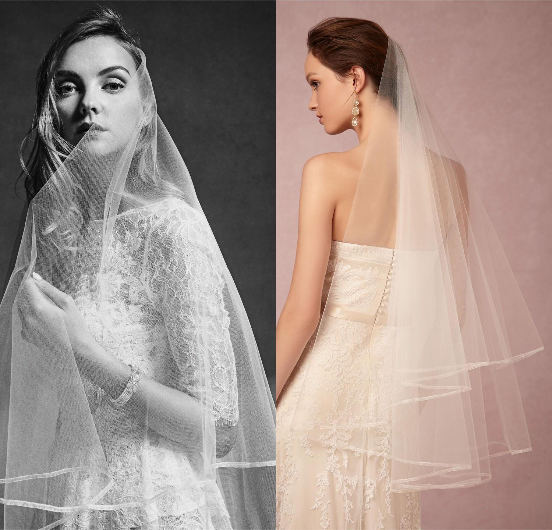 White Ivory Wedding Veil Short Lace Edge Bridal Veils Champagne Beautiful Custom