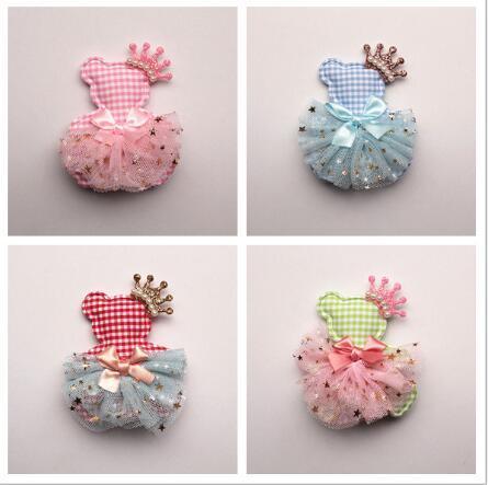 New Princess Girls Character Animal Bears Shape Hair Clips Glitter Felt Crown Hair Bows Pink Gauze Ribbon Bowknot 20pcs Hairpins