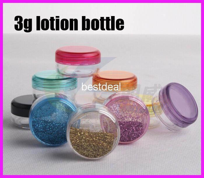 3g ps Plastik kavanoz krem şişe hediye kutusu 3g PS Temizle boş krem kavanoz losyon konteyner örnek plastik şişe Ev Kokuları