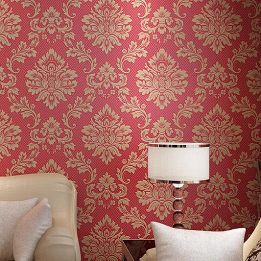 Blue/Red/beige tv background wall paper bedroom non woven wallpaper roll High Quality 3D three-dimensional damask wallpaper