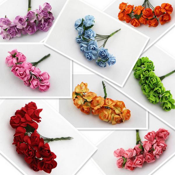 Pick color (144pcs/lot) 1.5cm Multicolor Mulberry Paper Rose Flower Bouquet Scrapbooking artificial