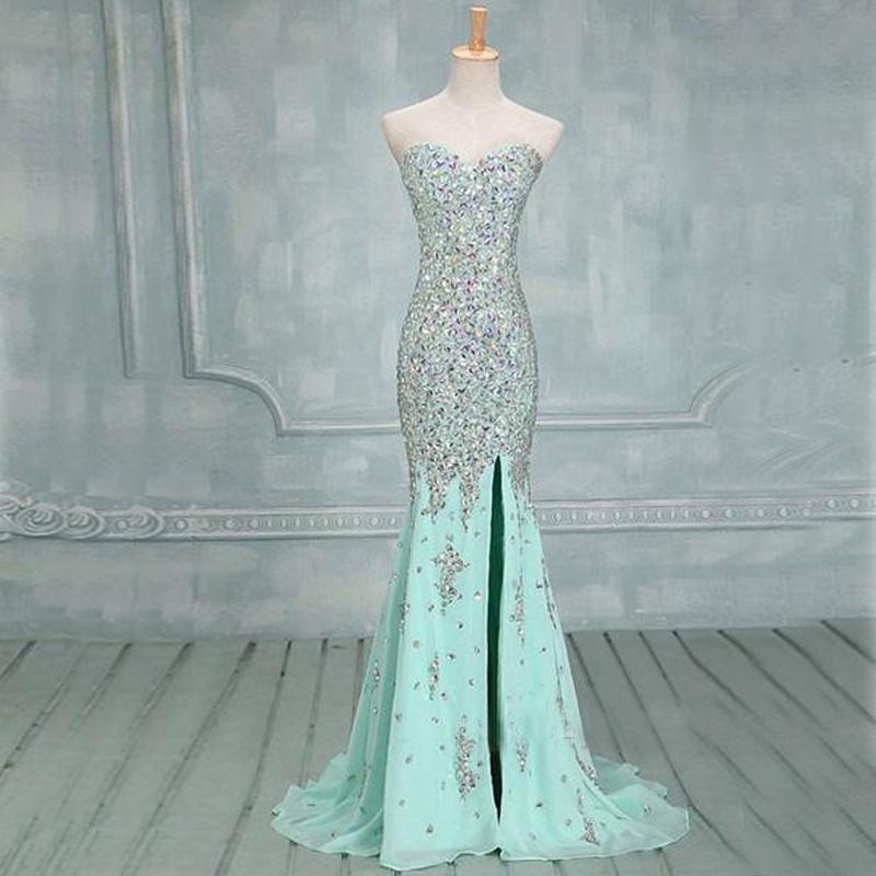 恋人の人魚のエレガントなミントのウエディングのドレスのサイドスリットビーズの銀の石のイブニングガウンが飛び込むのにかかわらずセクシーな形式の長いページェントのカスタムドレス