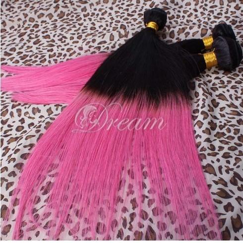 أومبير نسج الشعر التمديد مستقيم 6a الصف أومبير البرازيلي العذراء الشعر لحمة 1b / fucsia الوردي ملحقات 3 أو 4 حزم مزيج طول الشعر