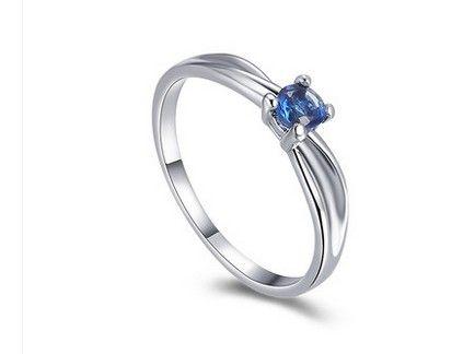 Bague de dame en argent cristal bleu 925 toute taille (yt-jd) dfesg