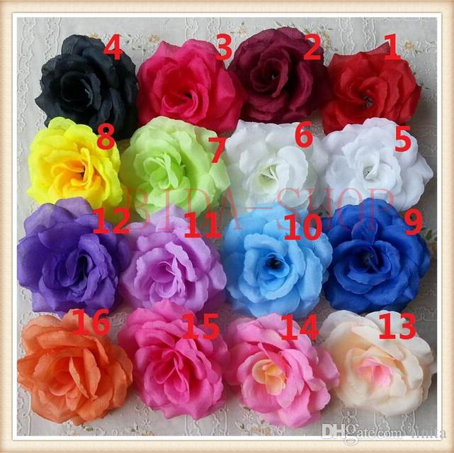 100pcs 8cm Silk Rose Flower Heads 16 Colors for Wedding Party Decorative Artificial Simulation Silk Peony Camellia Rose Flower