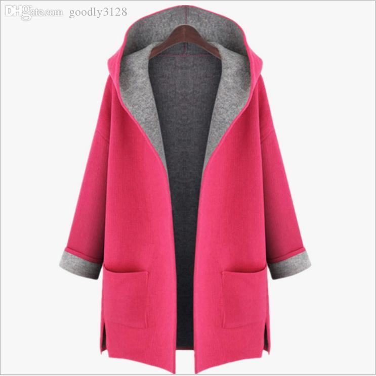 Wholesale-Hot sale Winter coat women Loose Woolen Thicken Coat Easy Matching Jacket With Hat Open Stitch winter jacket women wool coat