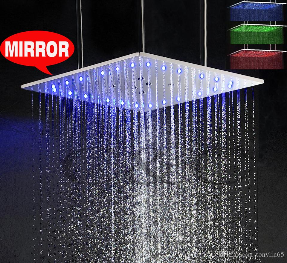 Temperature Sensitive 3 Colors LED Shower Head With Arms 20 Inch Ceiling Mounted Swash And Rainfall Top Shower