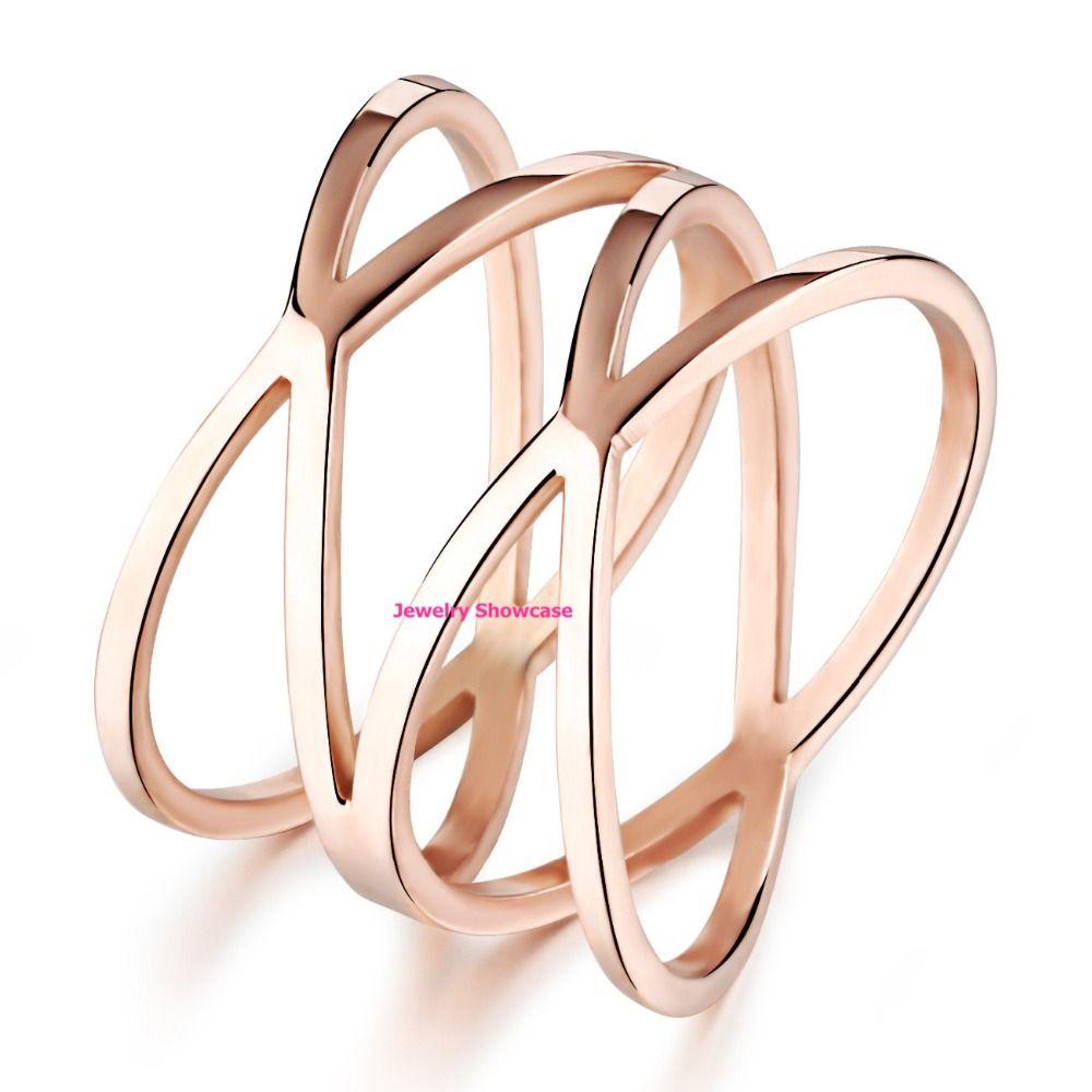 """Простой розовое золото покрытием"""" X """" крест-накрест тонкая полоса кольцо 1шт"""