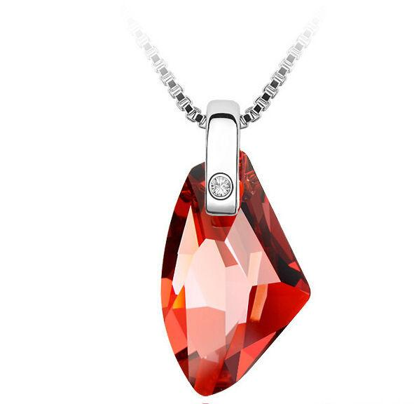 Big Crystal Necklace New 2017 Bridal Wedding Jewelry Charm Crystal Necklaces Pendants 18K White Gold Plated Made With Swarovski Elements 244