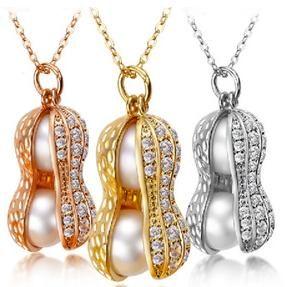 Бесплатная доставка Оптовая красивый натуральный жемчуг кулон ожерелье HFY-1627