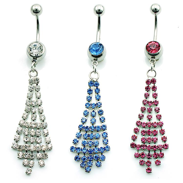 Brand New Fashion Belly Button Rings Stainless Steel Dangle 3 Color Rhinestone Sexy Navel Body Piercing Jewelry