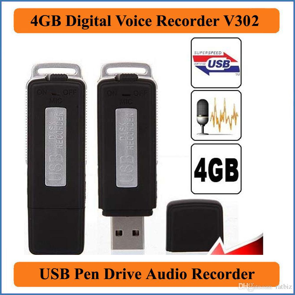 2 in 1 Mini 4GB USB Pen Flash Drive Disk Digital Hide Audio Voice Recorder 70 Hours Sound Rechargeable Recording Dictaphone VR302