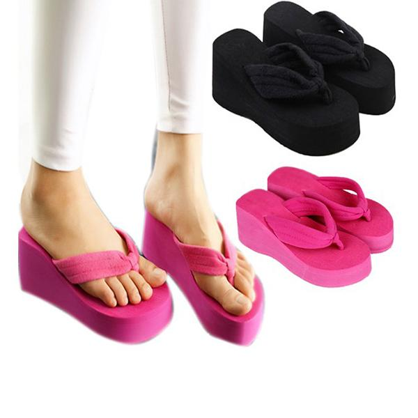 Women Casual High Heels Slippers Flip Flops Shoes Ladies Sandals Wedge Beach US