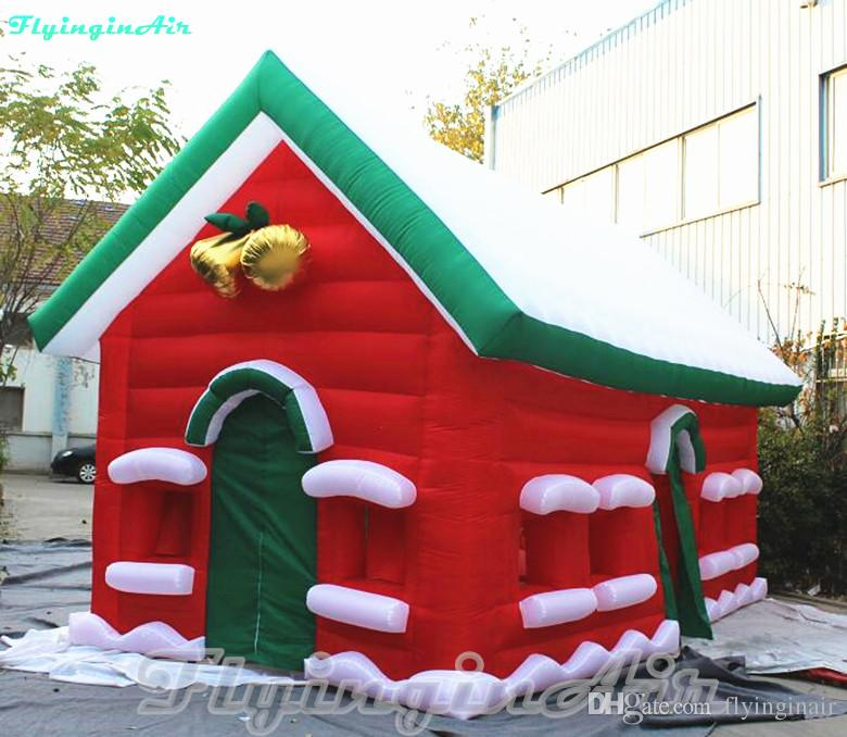 6m Advertising Red Christmas Lodge Inflatable Christmas Cottage with Bells