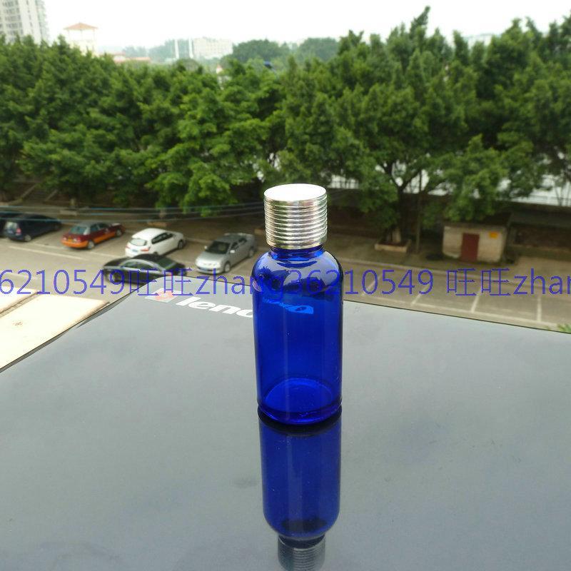 30ml 블루 글라스 에센셜 오일 병 반짝이 은색 알루미늄 캡. 오일 바이알, 에센셜 오일 용기
